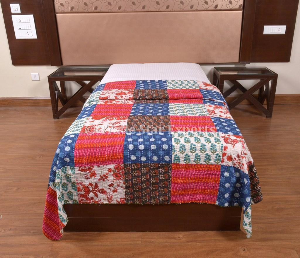 Patchwork Quilt Jaipur Block Print Kantha Throw Indian Cotton Bedspread Vintage Boho Blanket