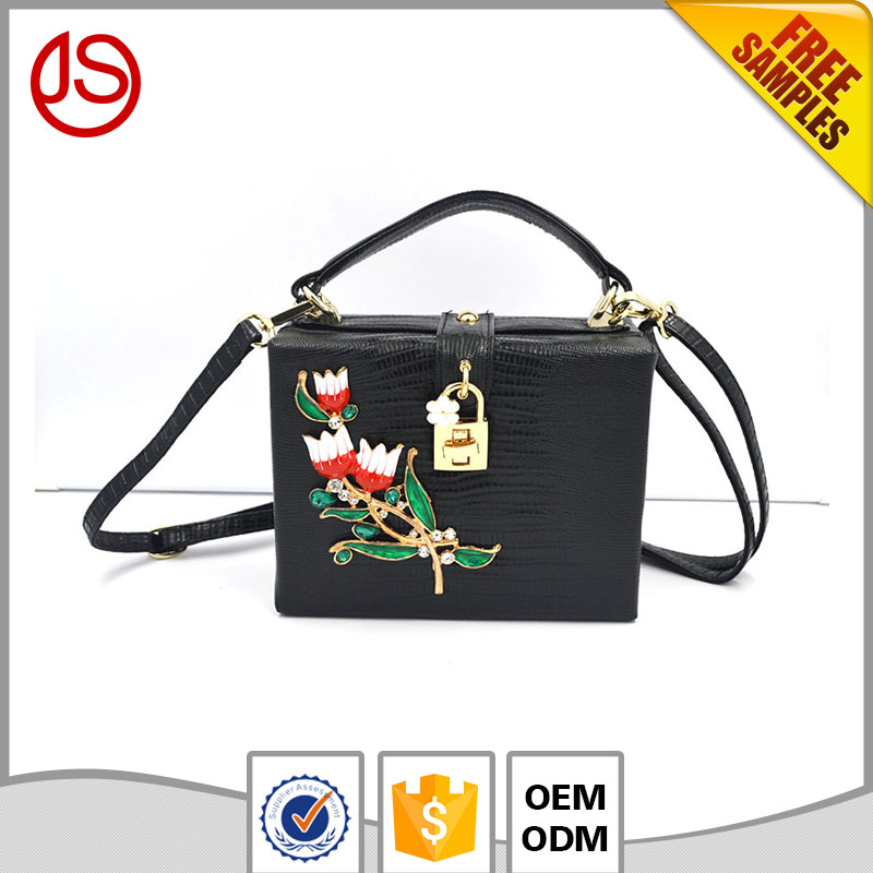 2017 Classic Black Diamonds and Flowers Pu Leather Tote Bag Hand Bags Handbag for Women