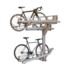 Two-layer double tier duplex cycle vertical bike storage stand for parking rack