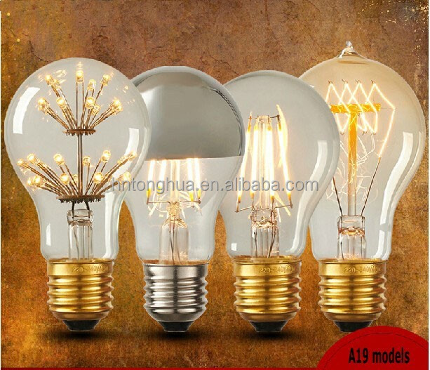 Edison lamp LED/tungsten filament A19 series light bulb Victorian Vintage Edison bulbs