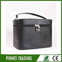 leather makeup bag hard case cosmetic bag with mirror