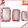 Three pieces one set clear PVC toiletry bag cosmetic bag