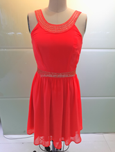 Orange Wholesale Women Dress Short Evening Dress With Stone