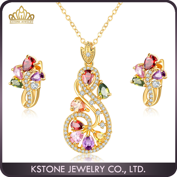 KSTONE Wholesale 2016 Costume African Dubai Women Plated 18K Gold Jewelry Sets,Fashion Diamond Bridal Wedding Jewelry Sets Neckl