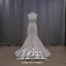 Gorgeous Queen Anne Mermaid Bridsal Gown Dazzling Embroider Backless Wedding Dress