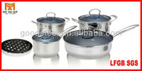 MSF 9pcs induction base cookware with tempered glass lid and wire knob