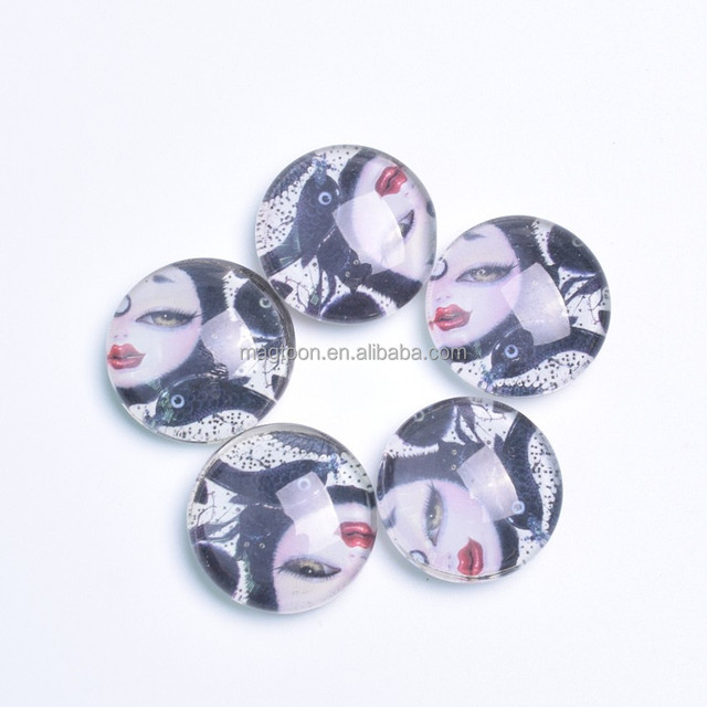 Mysterious cat eye printed glass fridge magnet for promotion