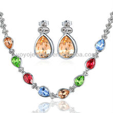 Fahion colorful rhinestone crystal necklace and earrings set