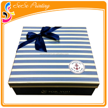 Square paper gift box with bowknot custom paper packaging box for sweater