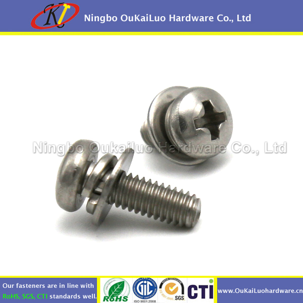SEMS Machine Screws, Pan Head Philips, 10-24 x 1/2, Stainless Steel 18-8