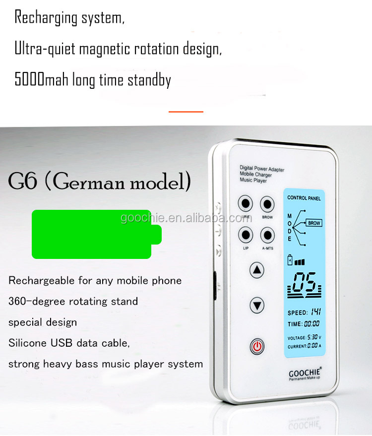 GOOCHIE G6 Digital Music System Rechargeable Permanent Makeup Machine