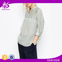 2016 Guangzhou Shandao Factory New Sample Casual Design 3/4 Sleeve Loose Striped Stand Collar Chiffon Ladies Western Blouse