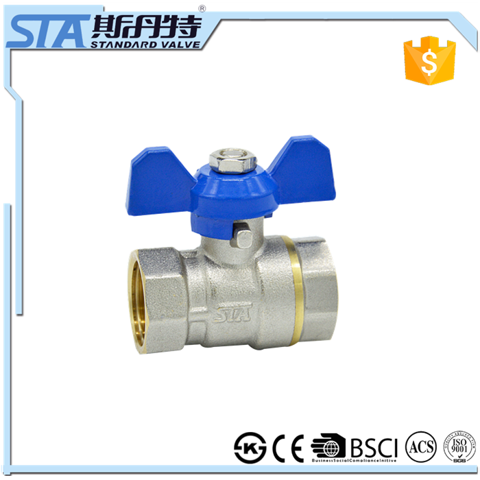 ART.1007 Red tee handle copper nuts brass material ball valve CW617n PTFE seated full port manual power forged PN 25 control