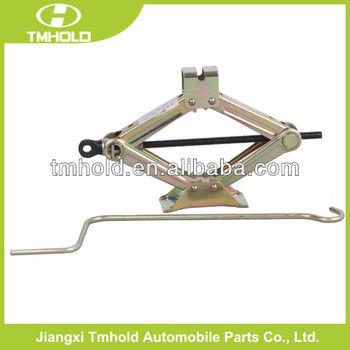 yellow scissor lifting car jack with handle