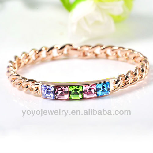 Chunky chain link crystal bracelet with rhinestone women