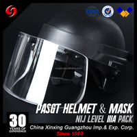 ballistic goggles bulletproof visor face profecter helmet with safety glasses NIJ IIIA ballistic helmet with visor