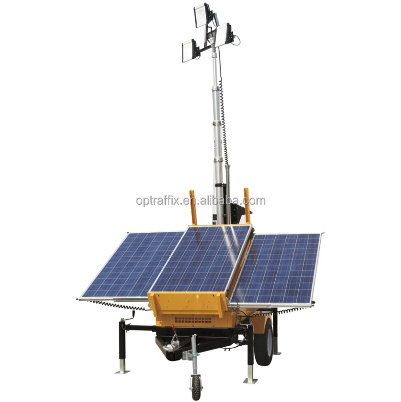 Telescopic Mast Battery Powered Night Scan Trailer Portable Light Tower LED, Emergency Electric 12V Mobile Solar Light Tower