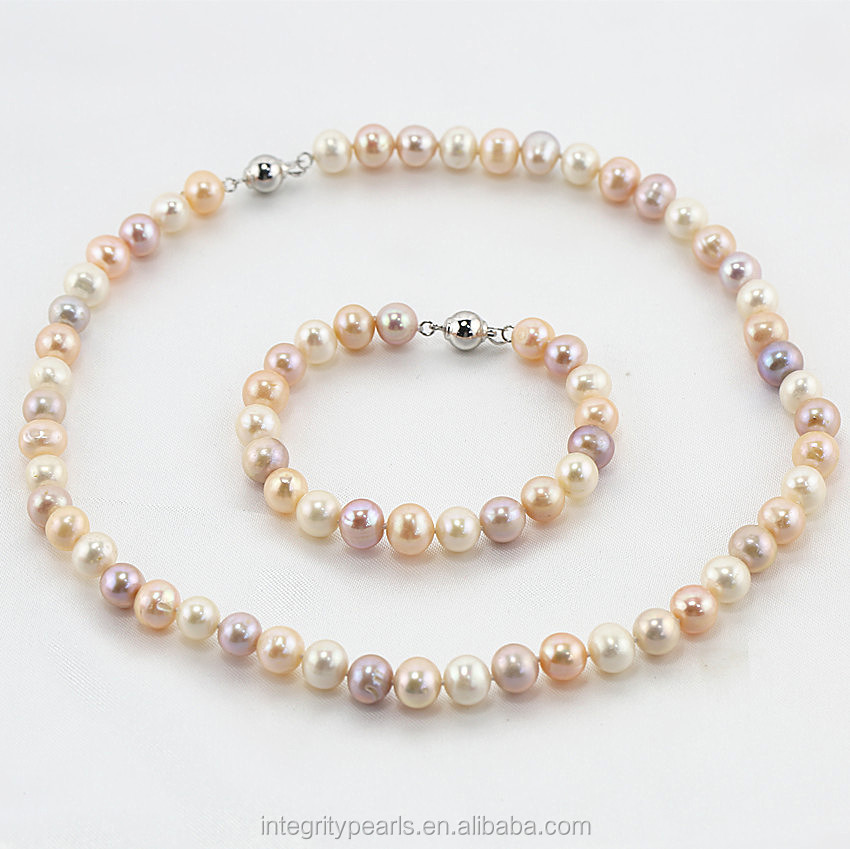 Elegant natural real cultured freshwater pearl set designs