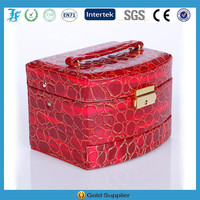 New Design Alligator Pattern Gilt-edged Leather Jewelry Box