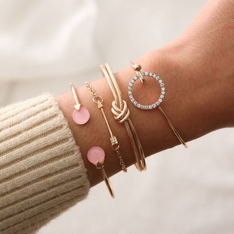 2019 Fashion Jwewlry Gold Plated Alloy Arrow Metal Double Knot Bangle Cuff Pink Resin Pave Rhinestone Circle 4pcs Bracelet Set