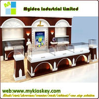 Fashion elegant led light mdf retail jewelry display showcase glass display case parts