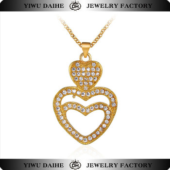 Fashion gold plating copper double heart necklace jewelry