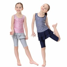 Fashionable kids swimming suits modest Arab Muslim bathing suit swimdress set