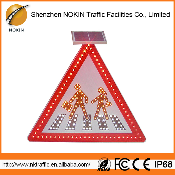 Low energy consumption red triangle road traffic signs and symbols