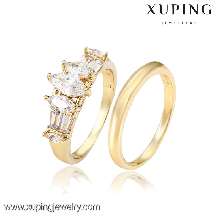 12810-xuping newest latest design gold simple big diamond stone design couple rings