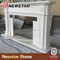 Beautiful Simple design white marble arched Stone Fireplace surround