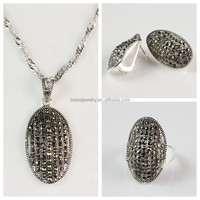 Oval Shape Silver Plated Brass CZ Micro Pave Latest New Model Jewelry Set
