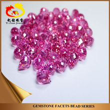 Pink rose color Teardrop Shape falt Faceted cut Cubic Zirconia beads for sale