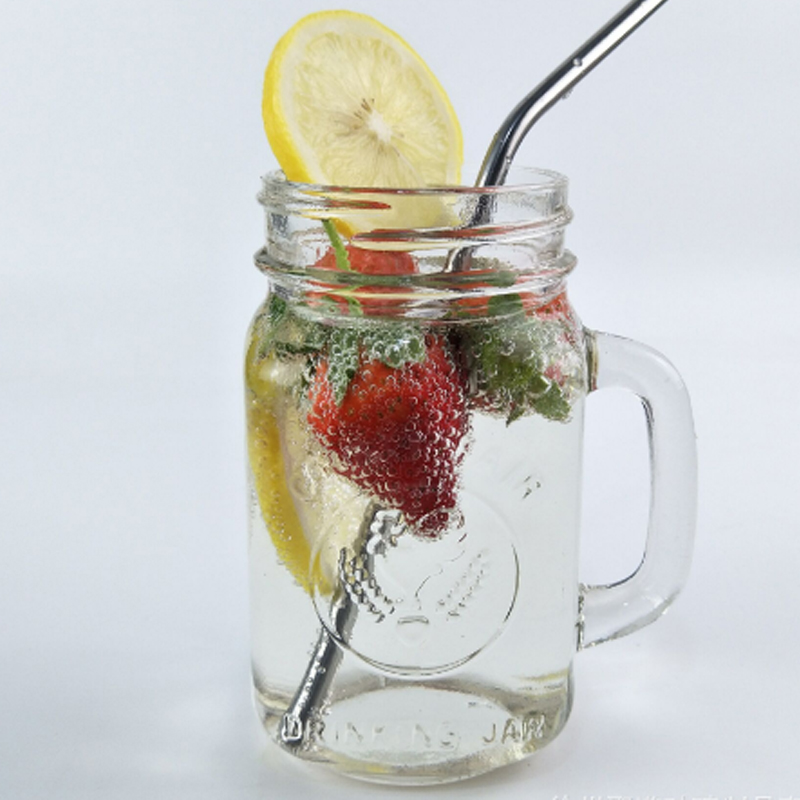 2016 hot sales 4OZ 8OZ 16OZ and 20OZ glass mason jar with lid and straw with handle