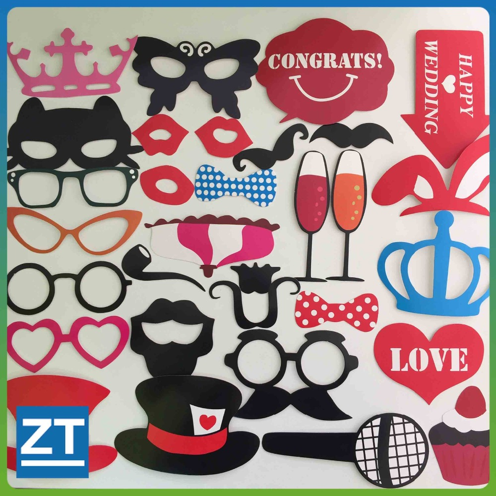 Photo Booth Props 31 Piece DIY Kit For Wedding Party