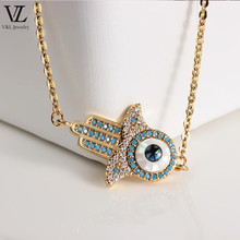 Hand shaped blue evil eye bracelet gold plated charms jewelry