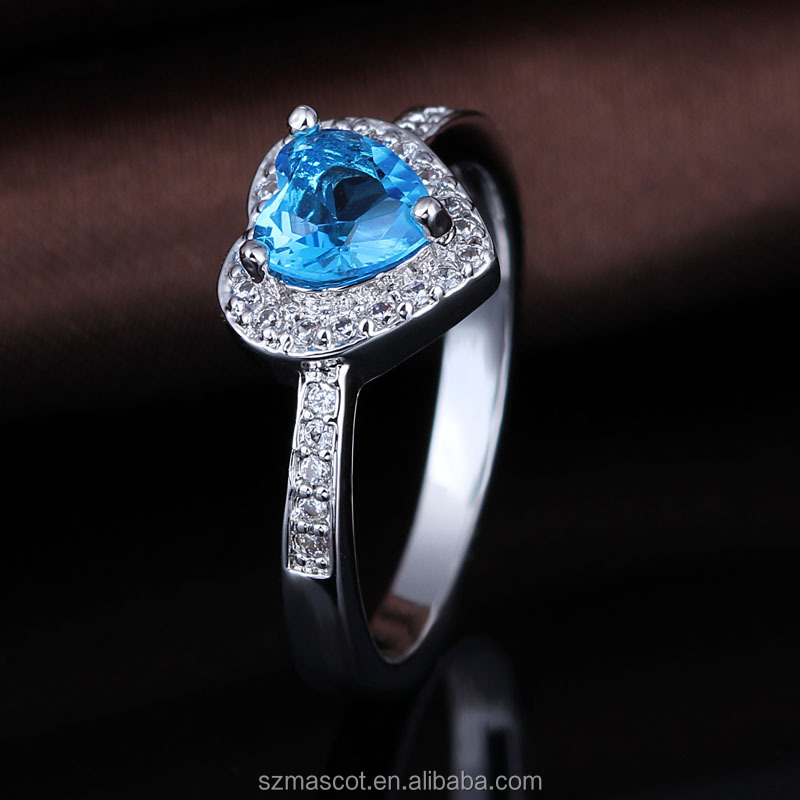 Aquamarine Stone Color Direct Factory Heart Shape CZ Fashion Rings