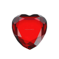 Wholesale red colored crystal glass heart shape diamond paperweight wedding centerpiece