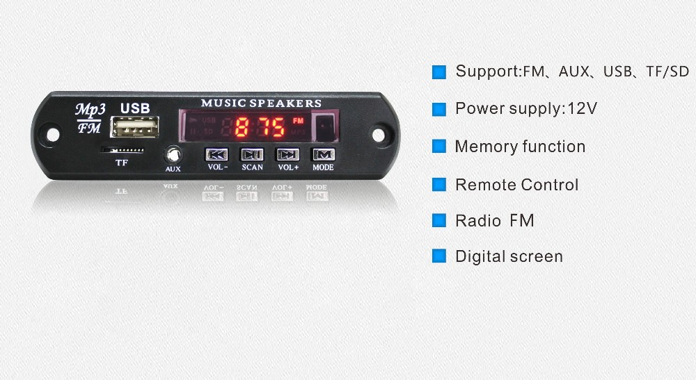 DC 5V-12V MP3 WAV player Decoder Board Audio Module USB TF FM Radio  Remote