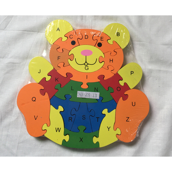 DIY Bear Shape Toy 26 Letters Puzzle Wooden Teether Toy