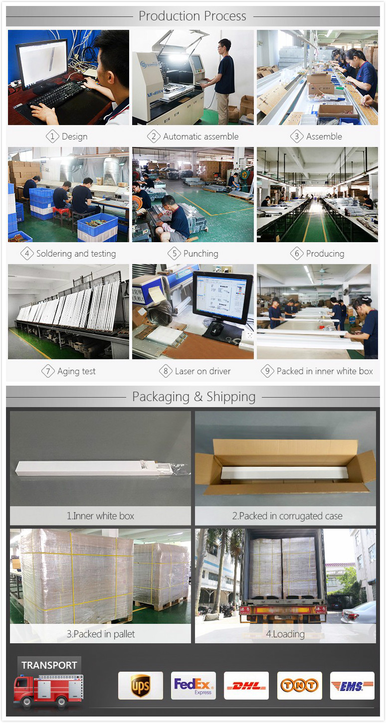Custom Design 60Cm 90Cm 120Cm 150Cm Factory Depot aluminum housing tube lamp Pc Lens Commercial Workbench Led Pendant Lighting