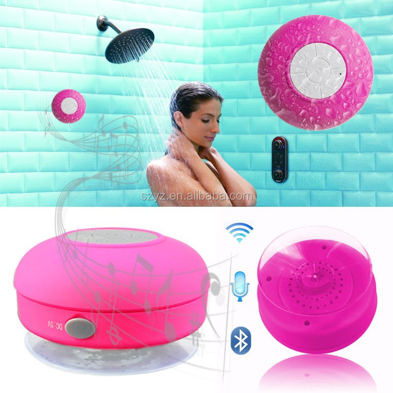 2016 Hot selling water resistant shower speaker with fm radio, original design bluetooth shower speaker with suction cup