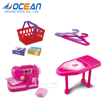 Girls pretend clothes ironing board electric mini sewing machine toy with music light function