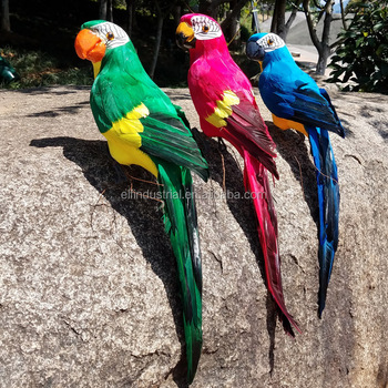 45 Cm Factory Direct Wholesale Home Decor Artificial Feather Birds Parrot With Clip For Garden Decoration And Gifts