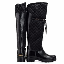 Tongpu Black color winter Long ladies fur lined boots