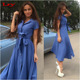 2016 Top sale women split side swing casual dress stand collar short sleeve maxi dress with belt