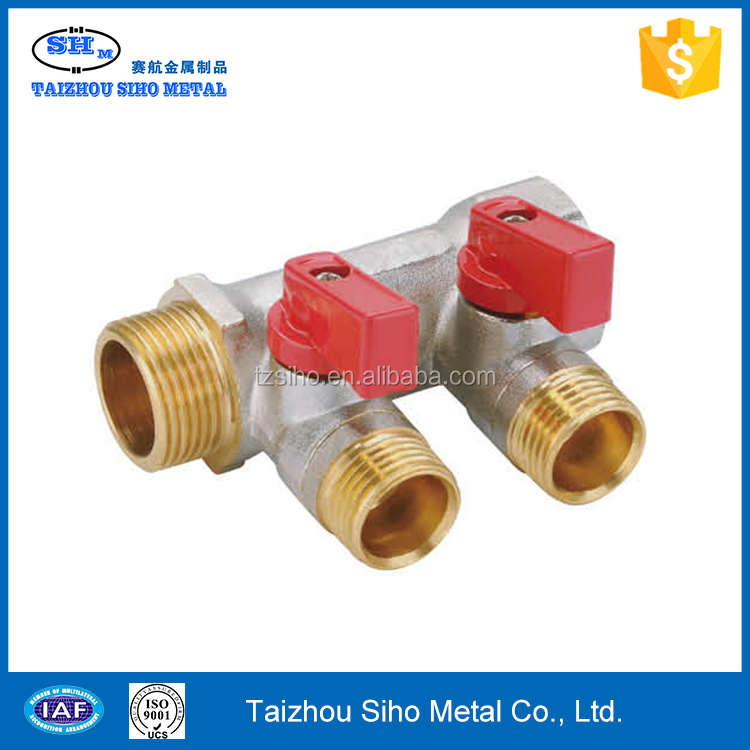 Brass port plumbing manifold importer and thread material for gas and water