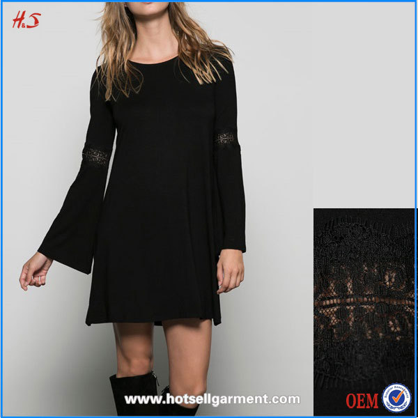 New Arrival Ladies Casual Dresses Long Sleeve Adult Baby Doll Dress With Lace