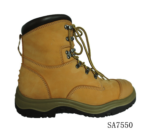 "7"" hot style high quality wheat nubuck leather work boots safety shoes with side zipper AS/NZS approved"