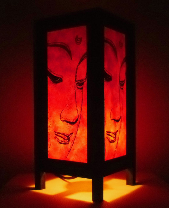 Thai Handmade Orange Face Buddha Paper Table lamps