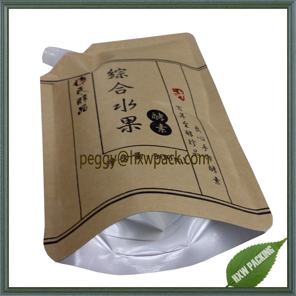 Side spout natural kraft paper stand up water bag,500ml paper packaging water bag